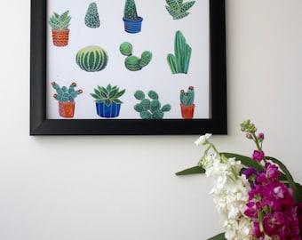 Large A3 Cacti Illustration Print