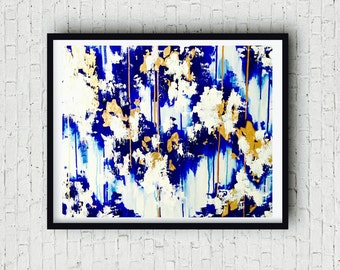 Modern Blue Abstract Painting Gold Leaf, Modern Wall art, Modern Blue Art, Abstract Art, Abstract Gold Leaf, 24 X 30 canvas