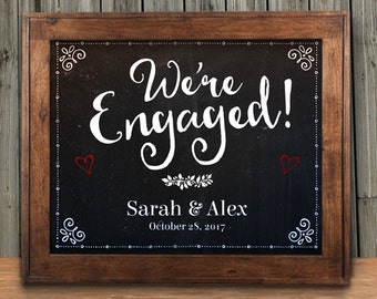 "Printable Chalkboard We're Engaged Signs - Black, 2 sizes: 10""x8"" and 14""x11"", Editable PDF, Instant Download"
