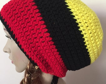 red black and yellow large tam or hat, crochet tam, crochet jamaican hat