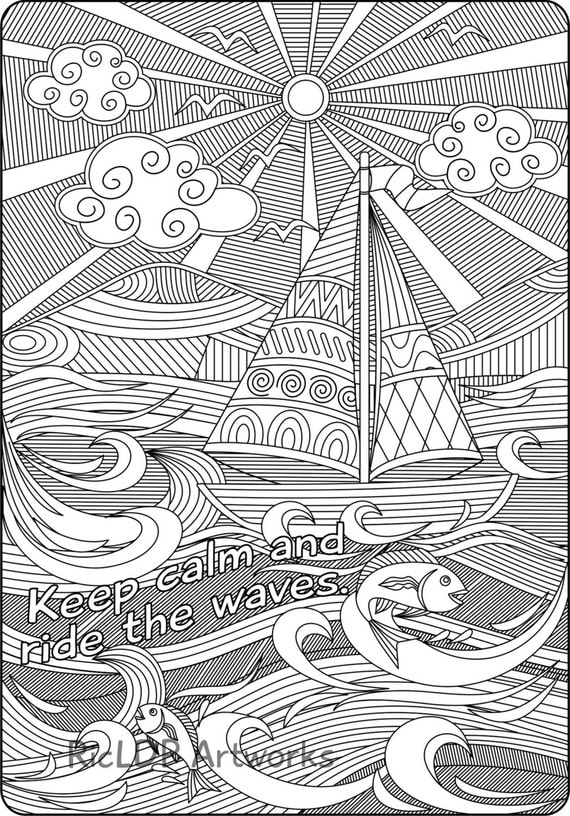 Items similar to printable keep calm and ride the waves for Waves coloring page