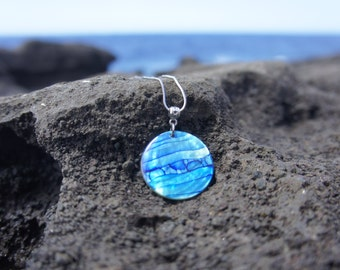 Horizontal Blue Wave with Bubbles Necklace