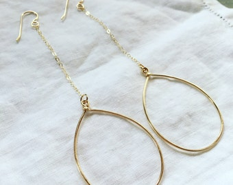 Simple 14k gold-fill drop chain hoops