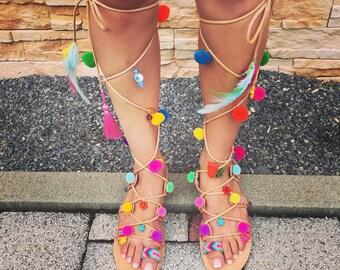 Greek Leather Sandals, Tie Up Gladiator Sandals, Pom Pom Sandals, Bohemian Sandals, Swarovski Crystals
