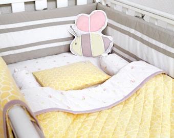 Buzzing Bee-Organic Crib Bedding Set, Baby Bedding Set, Baby Crib Set, Baby Bedding, Baby Girl Crib, Bee Crib Bedding, Baby Bedding
