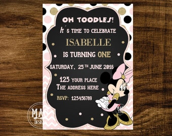 Minnie Mouse Invitation- Minnie Mouse Birthday Invitation- Minnie Mouse Birthday Invitation- Minnie Mouse Invitation Digital Invitation