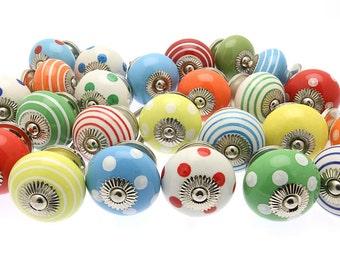 100 x Bright Spots & Stripes Mixed Ceramic Cupboard Kitchen Drawer Knobs (BRGT1)