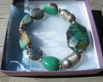 Handmade stretch bracelet made with semiprecious stones