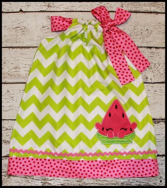 Shopkins Watermelon Melonie Pillowcase style dress Lime chevron and hot pink polka dot
