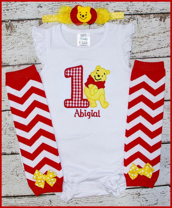 Super Cute Winnie The Pooh Bear Birthday outfit Personalized  Ruffled sleeve bubble onesie with matching head band and leg warmers