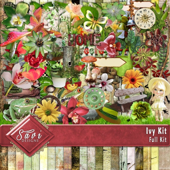 Digital Scrapbooking Kit Ivy Garden foliage suitable for Scrap Pages in gardening items statues, mushrooms