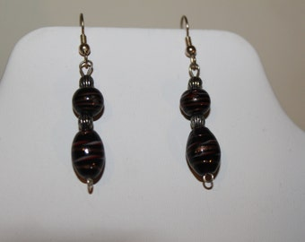 Black Drop Earrings with metallic highlights