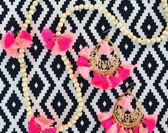 Tassel Earring & Becklace Set