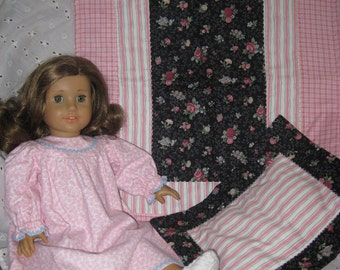 """18"""" American Girl Doll Pajamas, Slippers, Pillow and Quilt"""