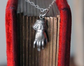 Solid Silver Antique Ladies Cuffed Hand Necklace