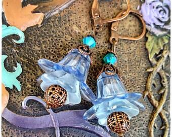 Flower Earrings, Mothers day, Swarovski Earrings, Floral Jewelry, Braidsmade Accesories, Dangle Earrings, Gift for her, Nature Earrings
