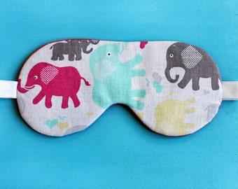 Sleep Mask Elephant, travel eye mask, baby shower gift, Girlfriend Gift,  School Supplies, slumber party favor, cute bedroom accessories