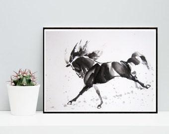 Horse print, horse art, watercolor horse, horse printable, horse decor, black horse, wall art, minimalist art, minimalist print poster