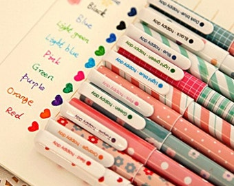 Set of 10 Kawaii Pretty Gel Pens / Each Pen Writes in Different Colour / Multi Colour Pens