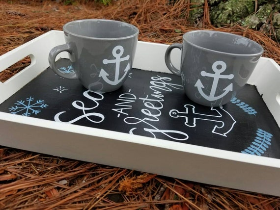 Seas and Greetings Nautical Christmas tray set, chalkboard bottom with seasonal message, 2 mug set included