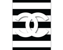 Unique chanel logo related items etsy for Authentic chanel logo t shirt