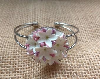 Bracelet - Bracelet jasmines - Bracelet Women - Accessories Women - Handmade - Flower - Porcelain - Handmade jewelery - Gift for her