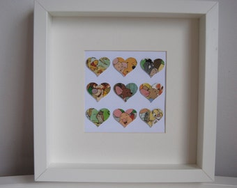 I Heart Winnie the Pooh. Favourite characters from Winnie the Pooh on hearts in frame. Handmade.