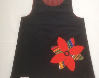 Girls Pinafore Dress with Flower Applique - Size 6 -  READY TO SHIP