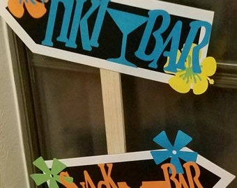 Hawaiian Themed Directional LUAU YARD SIGN - Customized to fit you Event