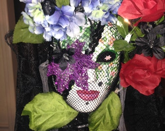 Decorative Wall Mask .. Handmade, mysterious and elegant with a Mardi Gras or day of the dead feel to it ..