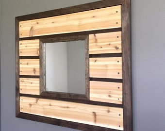 Cedar Wood Slat Mirror