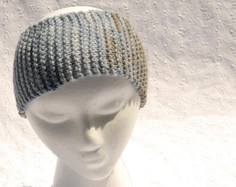 Knit Headband, Ear Warmer, Hand Made Hair Accessory, Blue and Gray Winter Warmer, One Size Fits Most, Stretchy Head Band