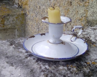 French vintage enamel candle holder, white with blue stripes