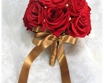Oh my Sweet Bride! Red Rose Silk Flower Bouquet