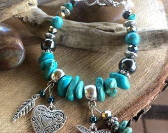 Bracelet charm 2 turquoise