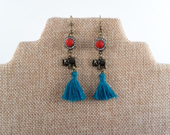 Tribal Fringe Elephant Earrings