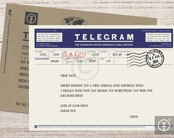 Personalised Telegram with Envelope - Greetings, Birthday, Invitation