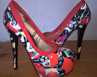 Ladies Harley Quinn Decoupaged High Heels ~ Size 5
