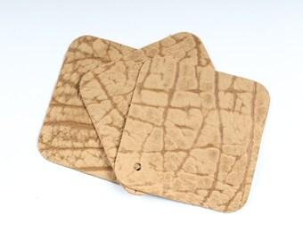 "Stone Ambra Craft Leather Scrap Remnant 4"" x 4"" TD49"