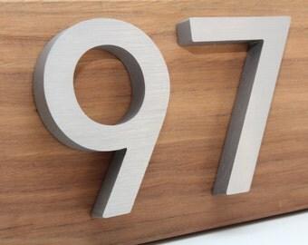 Custom house numbers / address made from hardwood and aluminium