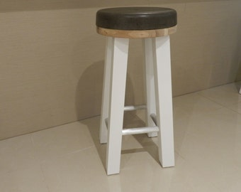 Concrete Bar Stool with White Wooden Legs, Brushed Stainless Steel Foot Rests