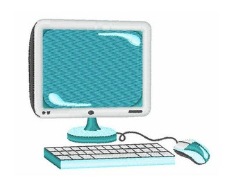 Monitor And Keyboard Computer - Machine Embroidery Design
