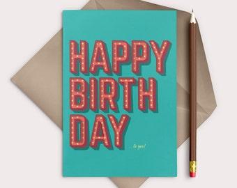 Cute Birthday Card Retro Watercolor Hand Drawn Download