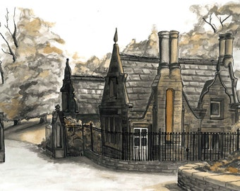 "Vintage House Ink Paint, call ""Broughton Hall Estate Entrance House"", Wall Art in Sepia"