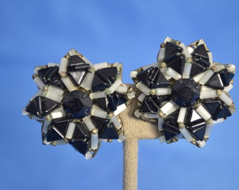 vintage signed Miriam Haskell black beaded earrings clip on