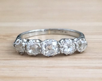 Edwardian Five Stone Diamond Ring Old Mine Cut White Gold and Platinum