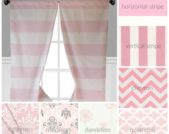 Baby Pink Curtains Window Treatments Drapery Light Pink Nursery Decor  Curtain Panels Floral Stripe Chevron Drapes