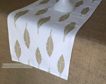 Gold Table Runner Metallic Golden Feather Table Centerpiece Linens Home Decor Shimmer Fabric Holiday Party Table Decor