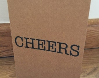 Thank you cards, cheers, pack of 10, recycled brown kraft card, vintage rustic style