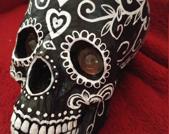 Vintage Day of the Dead skull candle holder